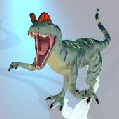 pic of dilophosaurus  - Rendered Image of a Dinosaur  - JPG