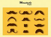 Brown Silhouette Vector Mustache. Mustache Black Hair And Man Mustache Hipster Set. Mustache Retro C poster