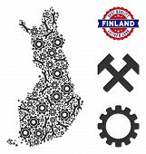 Service Finland Map Composition Of Service Tools. Abstract Territory Plan In Grey Color And Best Qua poster