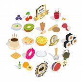 Tasty Breakfast Icons Set. Isometric Set Of 25 Tasty Breakfast Vector Icons For Web Isolated On Whit poster