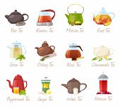 Tea Vector Puer-tea And Orrooibos Or Matcha Fruity Drinks In Teapot Illustration Drinking Set Of Gre poster