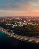 Panorama Of The Center Of Kiev City At Sunset. View Of The Kiev-pechersk Lavra poster