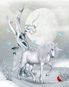 A Magical Unicorn In A Fantasy Winter Landscape Under A Full Moon, 3d Render poster