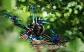 Blue Race Drone For Fpv First Person View For Racing With Quadcopters With Vibrant Colors In Nature  poster