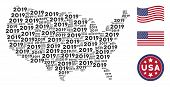 2019 Year Texts Are Organized Into American Map Stylization. Vector Concept Of American Territory Ma poster