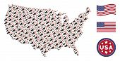 Alert Megaphone Icons Are Composed Into American Map Collage. Vector Concept Of American Geographica poster