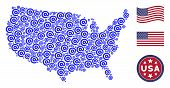 Email Symbol Items Are Composed Into American Map Stylization. Vector Concept Of American Geographic poster