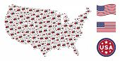 Mite Tick Items Are Arranged Into American Map Stylization. Vector Concept Of Usa Geographical Map I poster