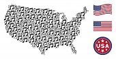 Music Notes Items Are Composed Into American Map Mosaic. Vector Collage Of American Geographical Map poster