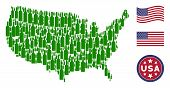 Wine Bottle Items Are Arranged Into United States Map Stylization. Vector Concept Of American Geogra poster