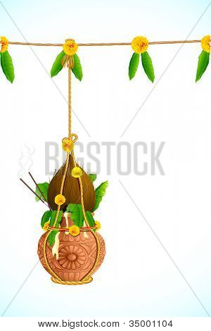 illustration of hanging dahi handi on Janmashtami background