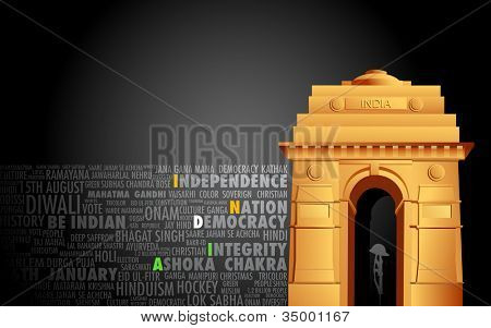 illustration of India gate on abstract flag tricolor background