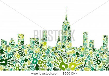 Ir de ciudad de manos de verde horizonte fondo
