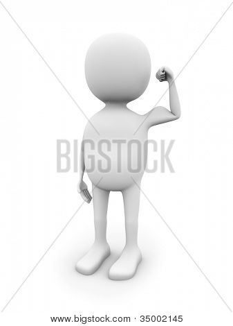 3D white man showing biceps isolated on white background.