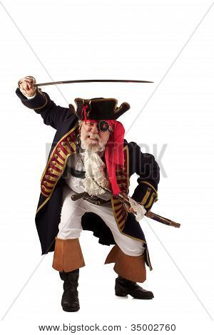 Traditional gray bearded pirate captain lunging forward with raised sword
