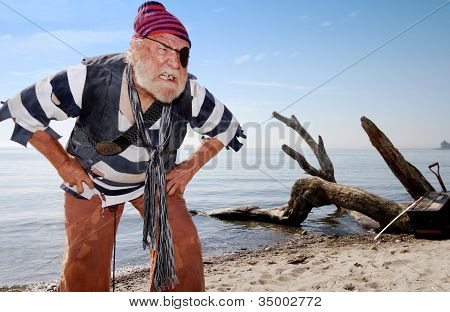 Castaway Pirate Defends Treasure Chest