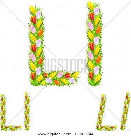 Vector Font Type Letter L Made From Flower Tulip