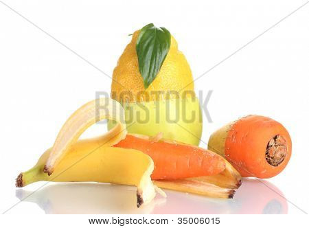 Genetically modified vegetables and fruits isolated on white