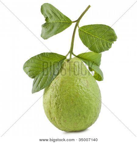 Guava Obst mit Blätter auf weißem Hintergrund