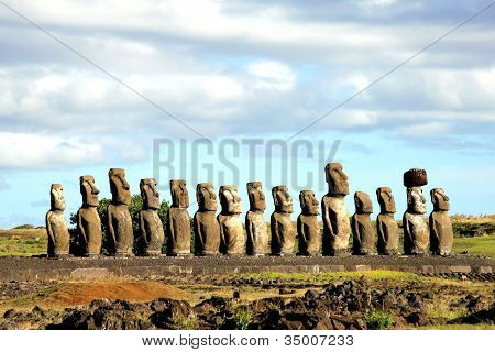 Fifteen moai at the Easter Island