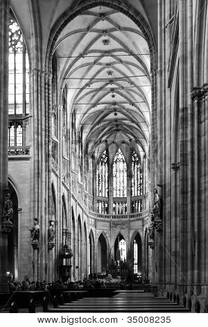 Cathedral Interior In Black And White