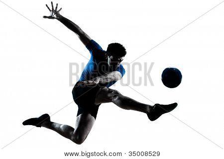 caucasian Monodrama fliegen treten spielen Fußball Fußball Spieler Kontur im Studio isolated on wh