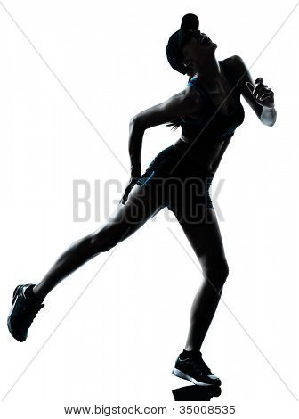one caucasian woman runner jogger muscle strain cramp physical injury at legs in silhouette studio isolated on white background