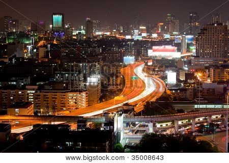 Aerial view Bangkok Highway at dusk