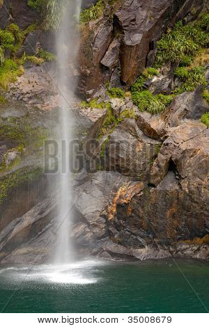 tropical rainforest waterfall in milford sound fiordland of New Zealand