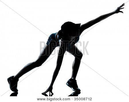 una mujer caucásica corredor jogger músculo calambre físico lesión en las piernas en el estudio de la silueta me