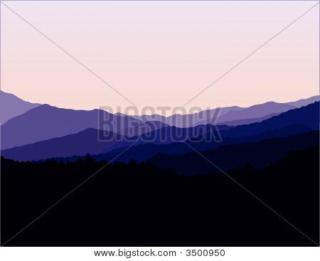 Paisaje de montañas de canto azul