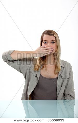 Woman yawning