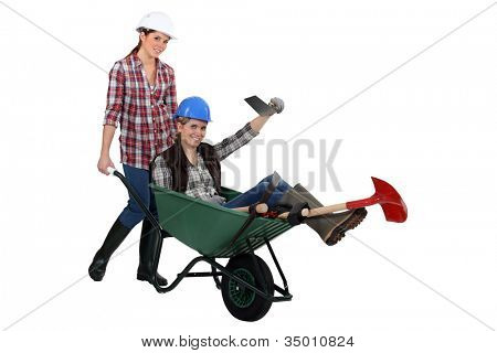 duo of female bricklayers