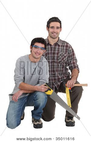 Carpenter and his young apprentice