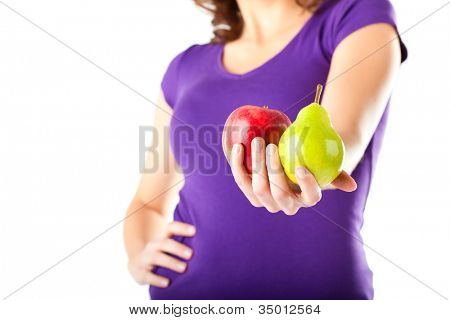 Healthy eating, woman with apple and pear