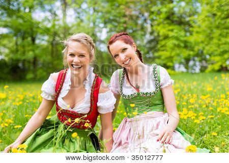 Young women in traditional Bavarian clothes - dirndl or tracht - on a meadow in spring