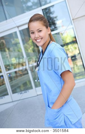 Beautiful Woman Nurse At Hospital
