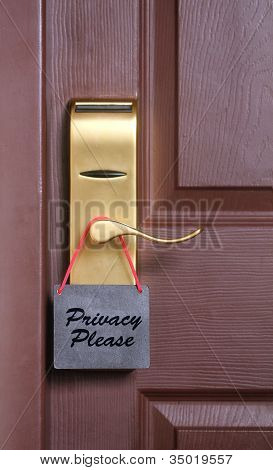 Privacy Please Words, A Common Request For Others Not To Disturb The Motel Or Resort Room Occupants,