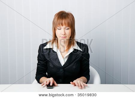 Attractive Business Woman Meditating
