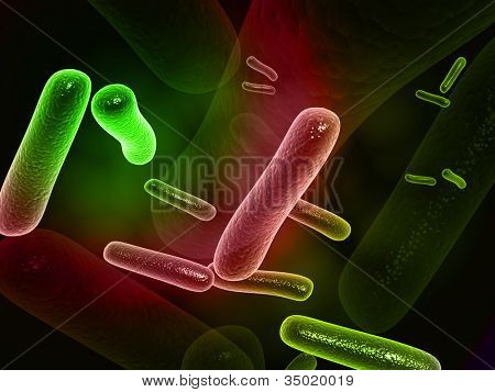 Ilustración digital de bacterias en 3d sobre fondo digital