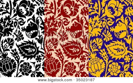 Seamless old-fashioned floral patterns