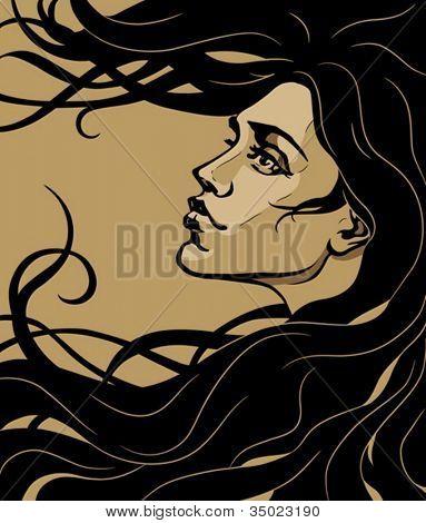 Art Nouveau Stil Mädchen Profil