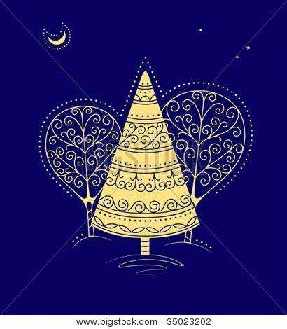tarjeta de felicitación de Navidad con gráficos estilizados originales