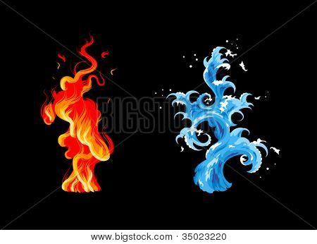 Two elements: burning flame and sea wave