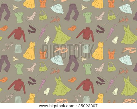 Seamless pattern of women's clothes
