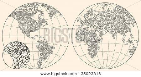 original hand made world map. consist of curves