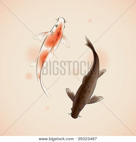 Yin Yang Koi fishes in oriental style painting.  vectorized brush painting, symbolize luck, fortune, or love.