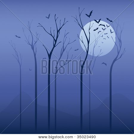 Noche de miedo. Concepto de Halloween: árbol seco en la noche con los palos.  Aplicado en color suave, puede ser u