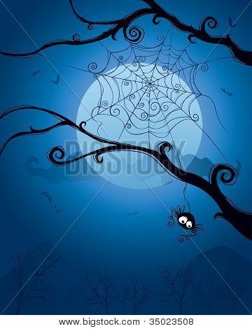 Spinne, die Halloween-Nacht am Baum hängen. Leerzeichen unten für Design und Text.