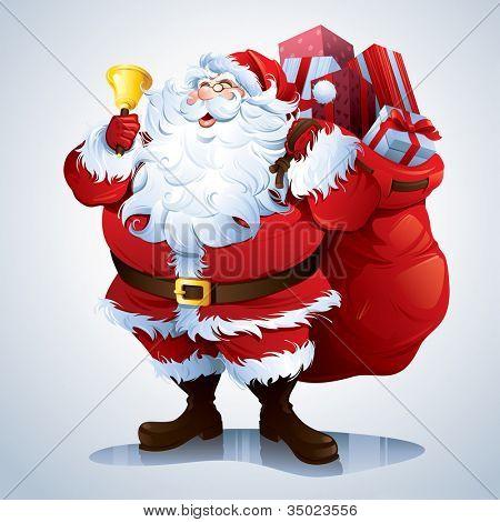 Papai Noel carregando o saco cheio de presentes.